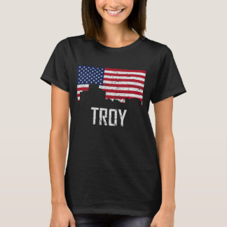 Troy Michigan Skyline American Flag Distressed T-Shirt