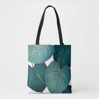 Trpical large green leaves tote bag