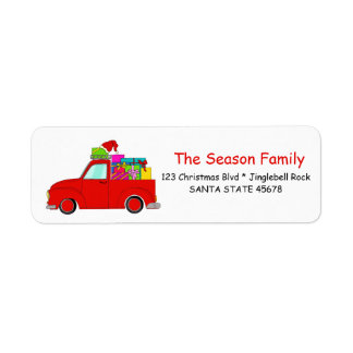Truck and gifts Christmas label