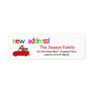 Truck and gifts Christmas label New Address