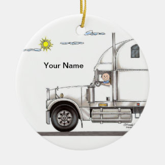 Truck Driver, 18 Wheeler - Male Ceramic Ornament