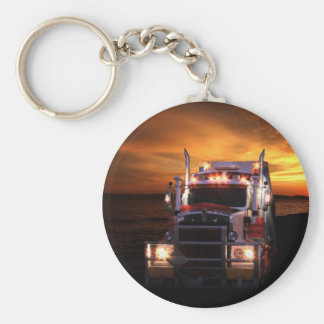 Truck driver basic round button keychain