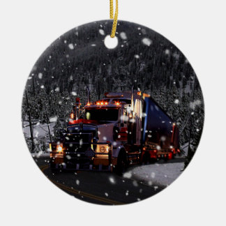 Truck Driver Christmas Ceramic Ornament