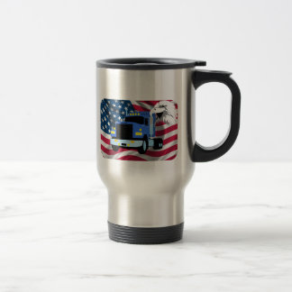 Truck Driver Travel Mug with US Flag and Eagle