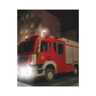 Truck of firemen by a street of Brooklyn Canvas Print