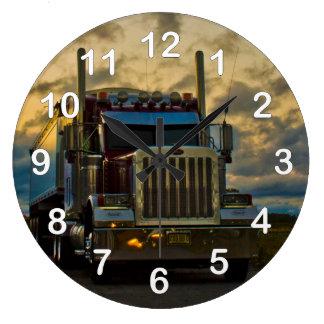 Truck Stop Sky Large Clock