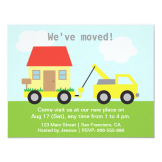 Truck Towing House We Moved Housewarming Party Card