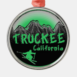 Truckee California artistic skier Silver-Colored Round Ornament