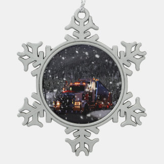 Trucker Christmas Snowflake Pewter Christmas Ornament
