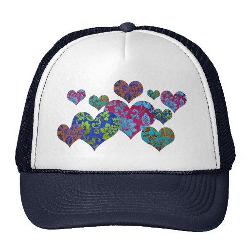 Trucker hat, floral damask colorful heart pattern