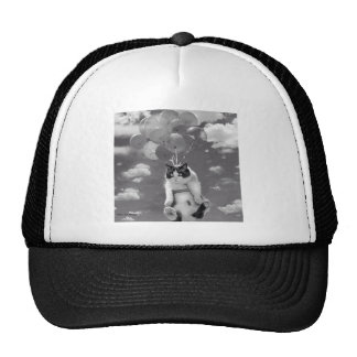 Trucker Hat: Funny cat flying with Balloons Trucker Hat