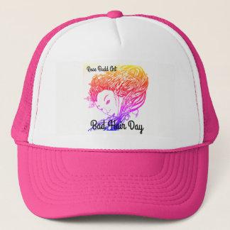 trucker hat,pink,bad hair day trucker hat