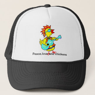 Trucker hat with folk art funky chicken