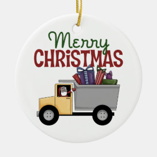 Trucker Merry Christmas Ornament