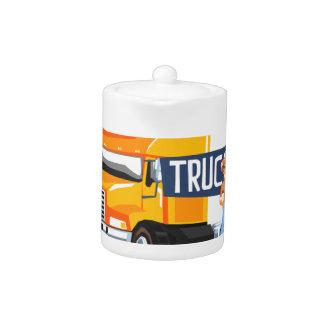 Trucker Standing Next To Heavy Yellow Long-Distanc