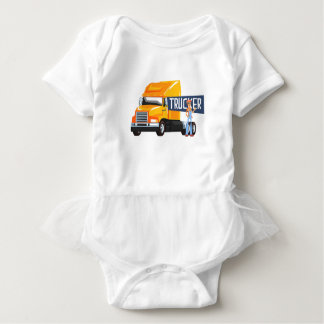 Trucker Standing Next To Heavy Yellow Long-Distanc Baby Bodysuit