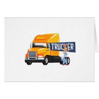Trucker Standing Next To Heavy Yellow Long-Distanc Card
