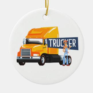 Trucker Standing Next To Heavy Yellow Long-Distanc Ceramic Ornament