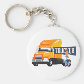 Trucker Standing Next To Heavy Yellow Long-Distanc Keychain