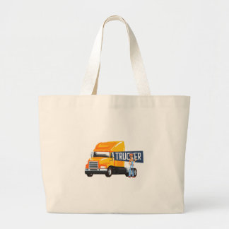 Trucker Standing Next To Heavy Yellow Long-Distanc Large Tote Bag