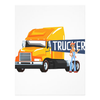 Trucker Standing Next To Heavy Yellow Long-Distanc Letterhead