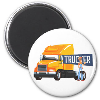 Trucker Standing Next To Heavy Yellow Long-Distanc Magnet