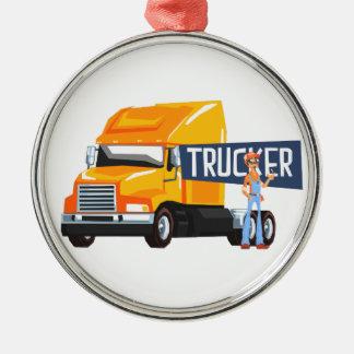 Trucker Standing Next To Heavy Yellow Long-Distanc Metal Ornament