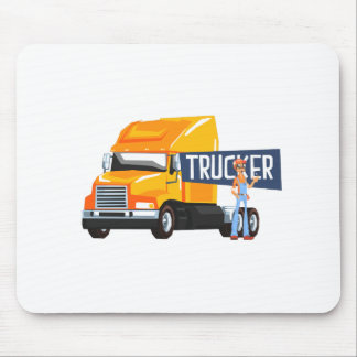 Trucker Standing Next To Heavy Yellow Long-Distanc Mouse Pad
