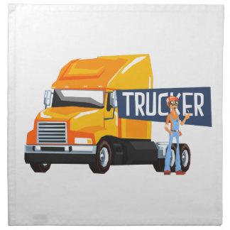 Trucker Standing Next To Heavy Yellow Long-Distanc Napkin