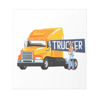 Trucker Standing Next To Heavy Yellow Long-Distanc Notepad