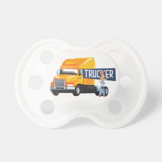 Trucker Standing Next To Heavy Yellow Long-Distanc Pacifier