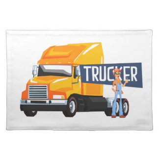 Trucker Standing Next To Heavy Yellow Long-Distanc Placemat