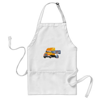 Trucker Standing Next To Heavy Yellow Long-Distanc Standard Apron