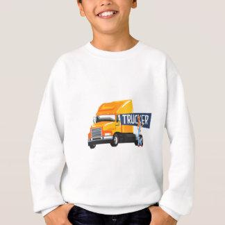 Trucker Standing Next To Heavy Yellow Long-Distanc Sweatshirt