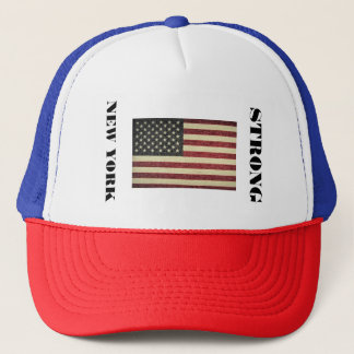 Trucker style cap with American flag