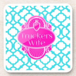 Trucker wife coaster set of 6 pink/teal