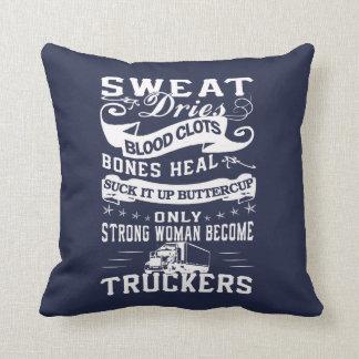 Trucker Woman Throw Pillow