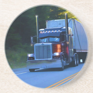 Truckers, Big Rig Cargo Truck Art Beverage Coaster