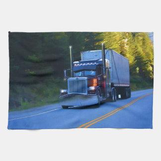 Truckers, Big Rig Cargo Truck Art Kitchen Towel