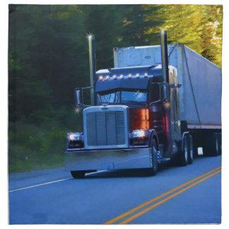 Truckers, Big Rig Cargo Truck Art Printed Napkin