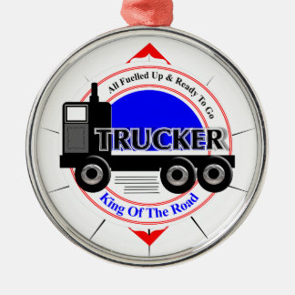 Truckers Novelty King Of The Road Graphic Silver-Colored Round Ornament