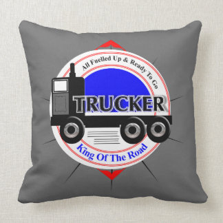 Truckers Novelty King Of The Road Graphic Throw Pillow