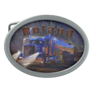 Truckers Tanker Gift for Roland customised Oval Belt Buckles