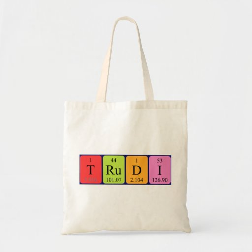 Trudi periodic table name tote bag