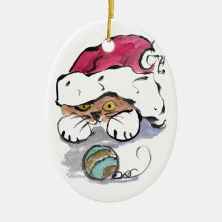 Trudy is Hiding in the Santa Hat Ceramic Oval Ornament