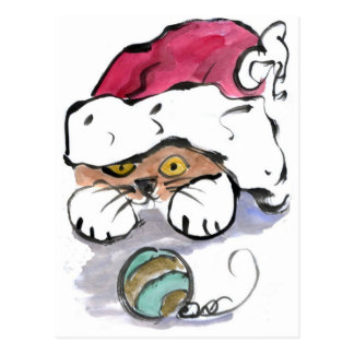 Trudy is Hiding in the Santa Hat Postcard