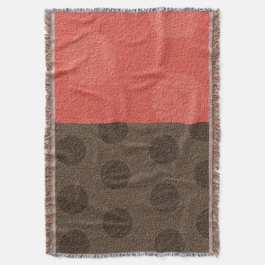 """"""" Trudy """" Peach & Brown Dots/no logo Throw"""