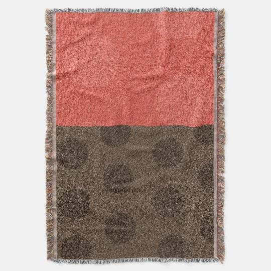 """ Trudy "" Peach & Brown Dots/no logo Throw Blanket"