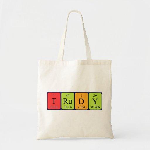 Trudy periodic table name tote bag