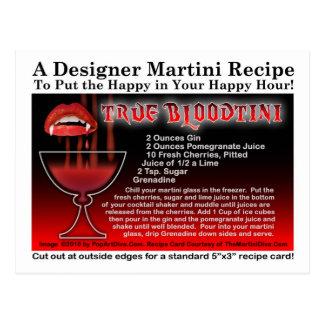 True Bloodtini Halloween Martini Recipe Postcard